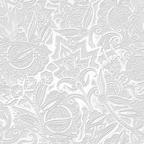 Embossed Paisley - White