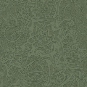 Embossed Paisley - Olive
