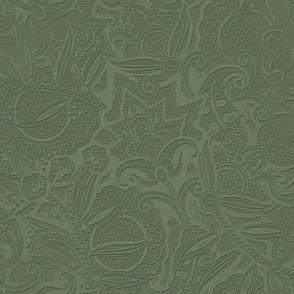 Embossed Paisley - Olive