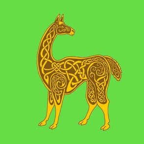 celtic llama gold on green