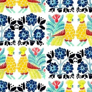 retro vintage tribal folk art birds flowers floral leaves leaf checkered chequer