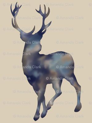 Painted Deer- Navy/Tan Mottled