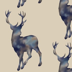 Painted Deer- Navy/Tan Mottled