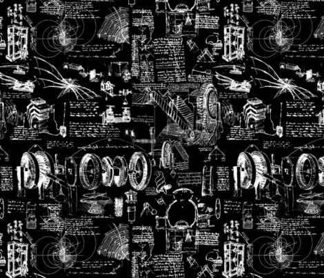 Da Vinci's Sketchbook // Black // Small fabric by thinlinetextiles on Spoonflower - custom fabric