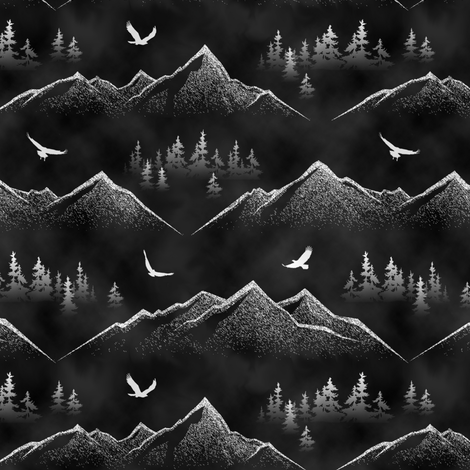 Eagle's Eye View // Full Moon // Small fabric by thinlinetextiles on Spoonflower - custom fabric