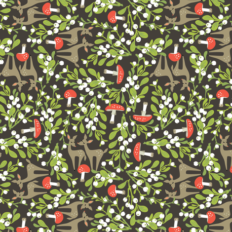 Wildwood: Mistletoe Dear fabric by sheri_mcculley on Spoonflower - custom fabric