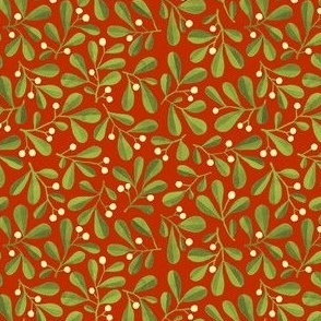 Mistletoe Ditsy on Warm Red