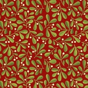 Mistletoe Ditsy on Dark Red
