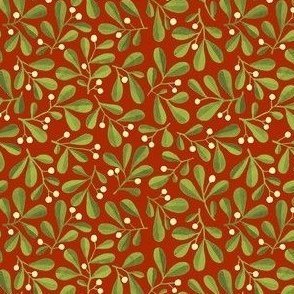 Mistletoe Ditsy on Medium Dark Red