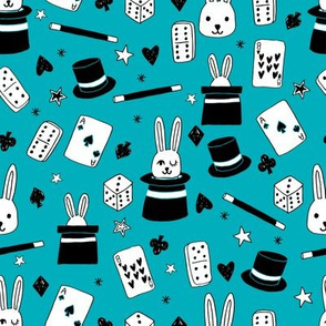 magic show // turquoise magic fabric cute magician kids design best magic rabbit in a hat novelty fabric for kids
