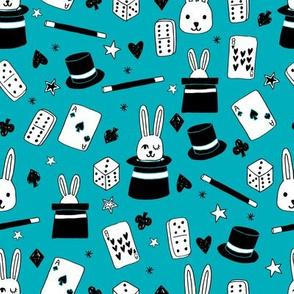 magic show // turquoise magic fabric cute magician kids design best magic rabbit in a hat novelty fabric for kids