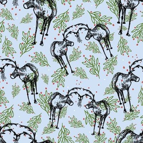 Ditsy Mistletoe Reindeer Snowblue