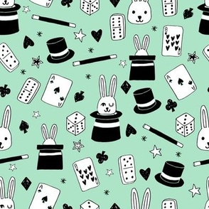 magic show // mint magic design magician fabric mint kids design bunny in a hat cute magic fabric