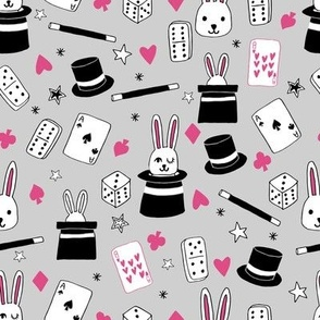 magic show // grey and pink magic design magician fabric cute kids design rabbit in a hat