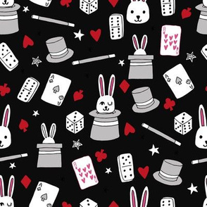 magic show // black red and grey magic show fabric bunnies dominoes dice fabric magic kids fabric