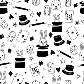 magic show // cute magic design black and white kids design andrea lauren fabric black and white dominoes cards rabbits