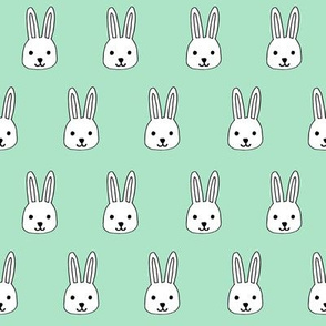 white rabbits // mint rabbit bunny easter mint pastel fabrics