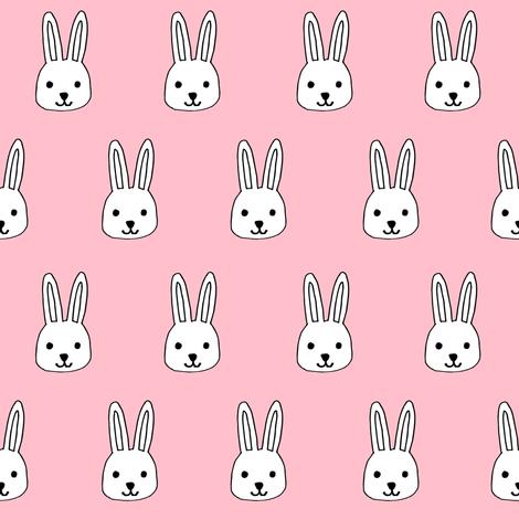 white rabbits // pink rabbits fabric easter cute pink baby nursery design rabbits fabric andrea lauren design fabric by andrea_lauren on Spoonflower - custom fabric