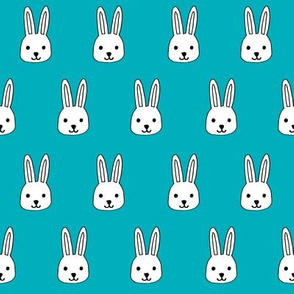 white rabbit // turquoise rabbits bunnies cute bunny head simple rabbit easter fabric
