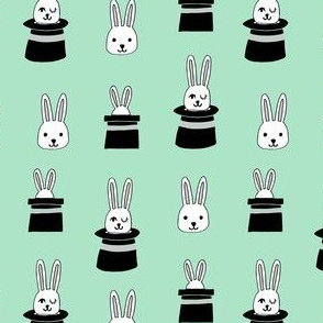 rabbit in a hat // mint cute rabbit fabric magic show magician fabric andrea lauren design