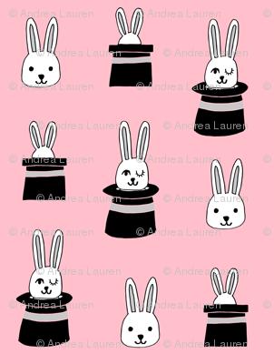rabbit in a hat // pink rabbits bunnies magician fabric cute magic show design for kids magic fabric