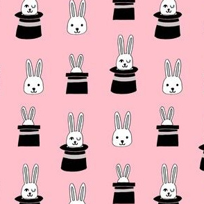 rabbit in a hat // pink rabbits bunnies magician fabric cute magic show design for kids magic fabric