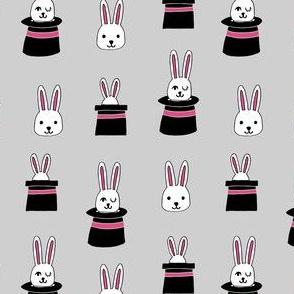 rabbit in a hat // magic show grey rabbits bunny magic easter cute grey and pink rabbit fabrics