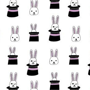 rabbit in a hat // white and purple pastel magic fabric magic show design magician fabric easter
