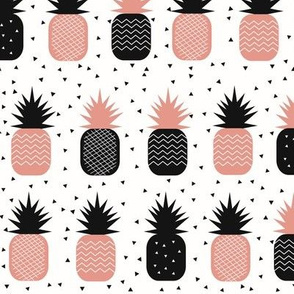 Pineapples - monochrome and coral pink geometric tropical fruits