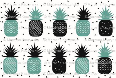 tropical fruit - pineapple ananas geometric aqua green monochrome