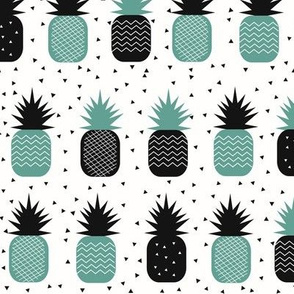 tropical fruit - pineapple ananas geometric aqua green monochrome
