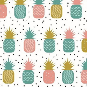 Pineappleas - tropical fruit pineapple geometric, coral mustard teal || by sunny afternoon