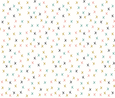 crosses stars mustard coral aqua fabric by sunny_afternoon on Spoonflower - custom fabric