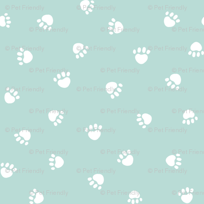 paws prints // light mint paw dog paws fabric cute dog design