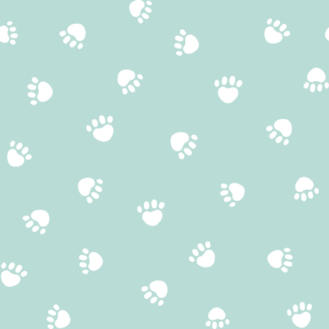 paws prints // light mint paw dog paws fabric cute dog design fabric by petfriendly on Spoonflower - custom fabric
