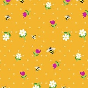 bees in the tulips - orange