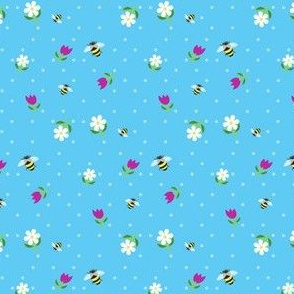 bees in the tulips - blue