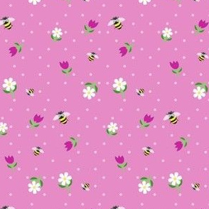 bees in the tulips - pink