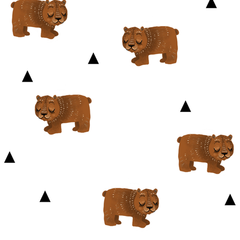 Sleepy Bears + Triangles fabric by taraput on Spoonflower - custom fabric