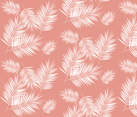 Palm leaf - white on coral Palm leaves Palm tree tropical summer || by sunny afternoon fabric by sunny_afternoon on Spoonflower - custom fabric