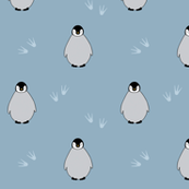 Penguins on blue