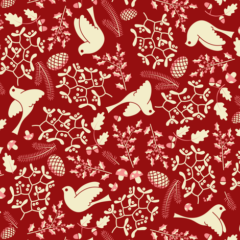 Christmas forest (red) fabric by analinea on Spoonflower - custom fabric