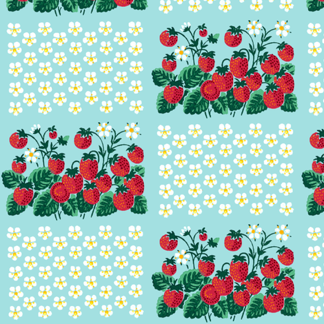 strawberry strawberries fruits daisy daisies flowers floral plants chequer checkered shabby chic fabric by raveneve on Spoonflower - custom fabric