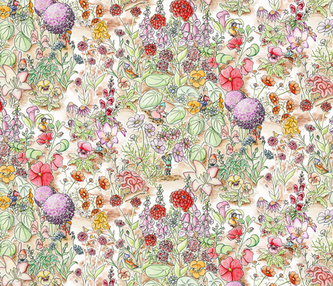 GnomesAmongFlowersLg fabric by blairfully_made on Spoonflower - custom fabric