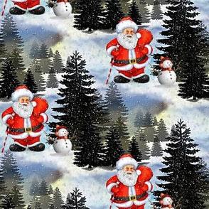santa clause and little snowman