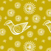 Bird with Snowflakes and Starbursts, Gold and White