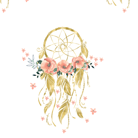 "Sweet Dreams Baby Girl Dream Catcher - Gold 7"" fabric by shopcabin on Spoonflower - custom fabric"