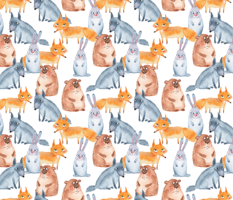 Forest animals fabric by gribanessa on Spoonflower - custom fabric