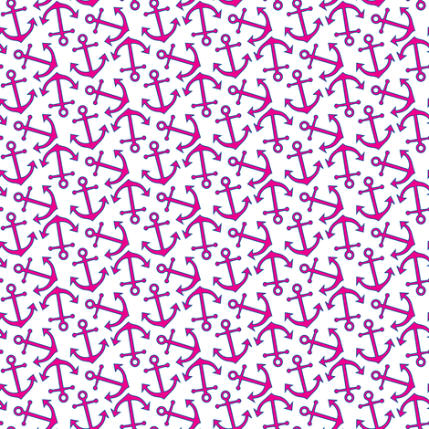 Nautical Anchors in Pink and Blue fabric by misschiffdesigns on Spoonflower - custom fabric