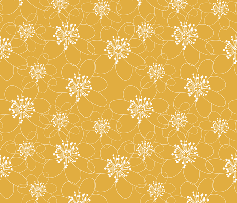 anemone ocra fabric by pysselnabon on Spoonflower - custom fabric